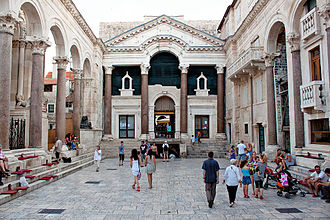 Historical nucleus of Split with the 4th-century Diocletian's Palace was inscribed on the UNESCO list of World Heritage Sites in 1979 Peristyle, Split 1.jpg