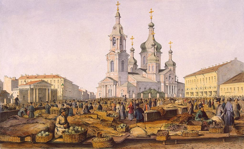 Ferdinand Perrot (1808–1841) Vue sur la place Sennaya à Saint Petersbourg.