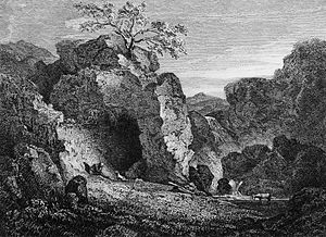 Peter Bell (Wordsworth) - Frontispiece illustration to the first edition. The Swaledale night-scene.