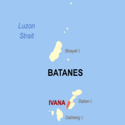 Map of Batanes showing the location of Ivana