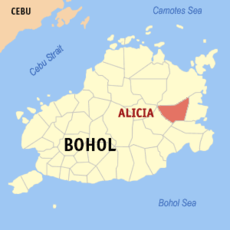 Map of Bohol showing the location of Alicia