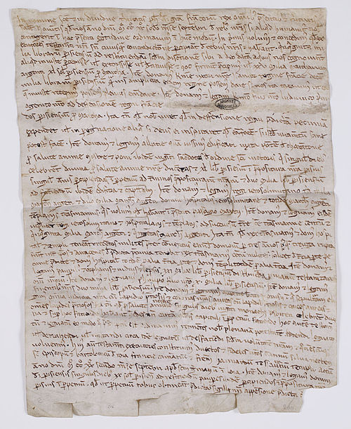 Testament de Philippe Auguste donné à Saint-Germain-en-Laye, septembre 1222. Archives nationales AE/II/214 - Philippe II de France