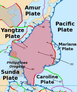 An oceanic tectonic plate to the east of the Philippines
