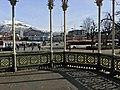 "Photo from inside Musikkpaviljongen (""The Music Pavillion"") in Byparken in central Bergen, Norway 2018-03-15. View towards buses in Christies gate, Lille Lungegårdsvann, KODE art museum, Bergen Public Library, Ulriken etc C.jpg"
