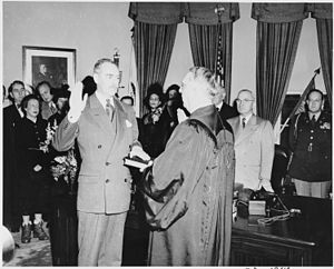 Dean Acheson - Acheson sworn into office as Secretary of State, with Chief Justice Fred M. Vinson, (January 21, 1949)