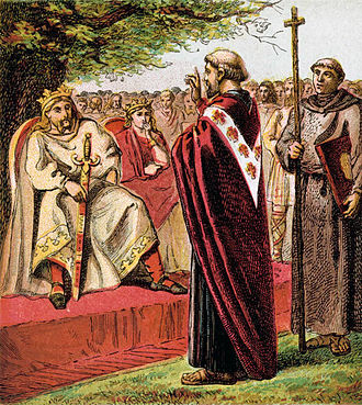 Saxons - 1868 illustration of Augustine addressing the Saxons