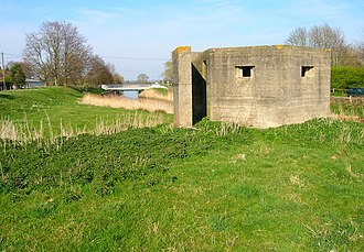 Royal Military Canal - One of the numerous surviving pillboxes built on the Napoleonic era rampart of the canal in 1940.