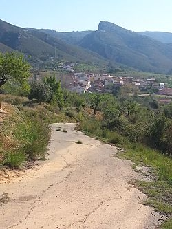 View of the village of Pinet, Vall d'Albaida, Valencia, Spain, from the west