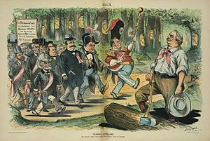 "Garret Hobart - ""Pioneer Cleveland"":  Puck magazine cartoon showing the Republicans following the path of the gold standard which President Grover Cleveland (right) has blazed.  Hobart, in black coat just left of center, wears a campaign ribbon with his name on it, and walks between McKinley and former president Benjamin Harrison (with gray hat)."