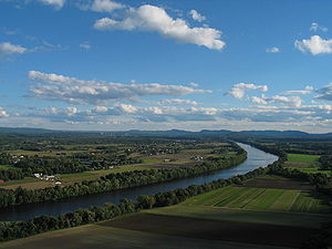 Pioneer Valley - The Connecticut River, looking southward over Sunderland from Deerfield.