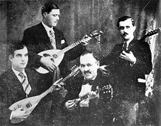 Rebetiko - Piraeus Quartet from right: Anestis Delias (aka Artemis), Yiorgos Batis, Markos Vamvakaris, Stratos Pagioumtzis (mid-1930)