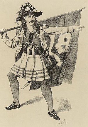 Richard Temple (bass-baritone) - Drawing of Temple as the Pirate King in The Pirates of Penzance