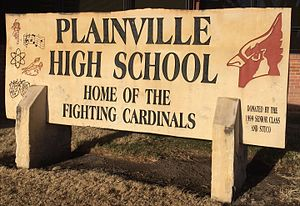Plainville, Kansas - Plainville High School Sign (2016)
