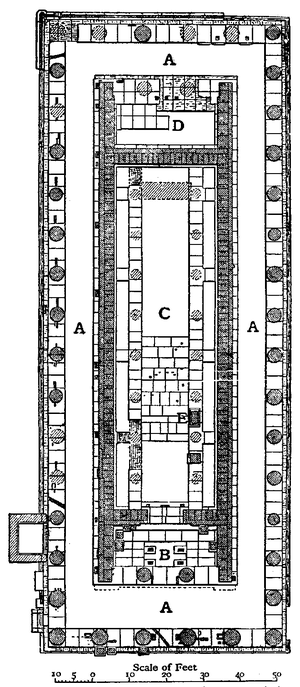 Temple of Hera, Olympia - Plan of the Temple of Hera. (A: Peristyle; B: Pronaos; C: Naos; D: Opisthodomos; E: Base of Statue of Hermes).