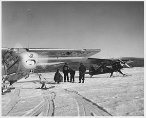 Boeing L-15 Scout - Image: Plane crew in front of plane history photo