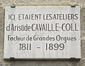 Plaque Aristide Cavaillé-Coll, 13 avenue du Maine, Paris 15.jpg