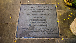 Oliver Goldsmith - A plaque to Oliver Goldsmith at Temple Church