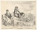 Plate 10- two horsemen descending a mountain at left, another horseman to right in background, from 'Diversi capricci' MET DP833187.jpg