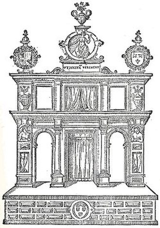 Violieren - An engraving of the stage for the 1561 rhetoric competition held in Antwerp