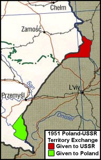 1951 Polish–Soviet territorial exchange - Map of the border adjustment. Territory ceded by Poland in red, territory ceded by USSR in green.