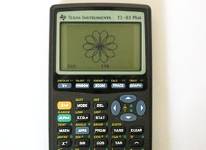 A polar rose made with a TI-83 Plus calculator