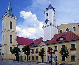 Polkowice - Town hall and St Barbara Church