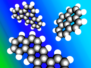 Aromatic hydrocarbon - An illustration of typical polycyclic aromatic hydrocarbons. Clockwise from top left: benz(e)acephenanthrylene, pyrene and dibenz(ah)anthracene.