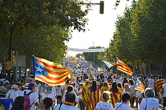 "Go ahead, Catalan Republic - Crowded street in Salt during the demonstration ""A punt"""