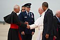 Pope Francis, escorted by President Barack Obama, greets Cardinal Donald W. Wuerl, the archbishop of Washington, and Maj. Gen. Darryl Burke, the Air Force District of Washington commander, at Joint Base Andrews, Md., Sept. 22, 2015.jpg