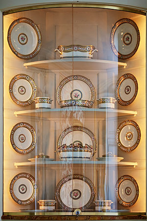 "Manufacture nationale de Sèvres - Pieces of a service ""with decoration rich in colours and rich in gold"" produced by the manufactory for Queen Marie Antoinette in 1784."