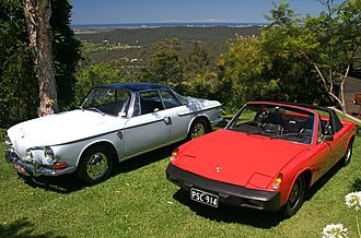 Porsche 914 - Porsche 914 at right and the car it replaced at the top of VW's line, the Type 34 Karmann Ghia, at left
