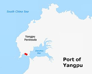 Port of Yangpu - Map showing location of Port of Yangpu within Yangpu Peninsula