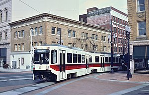 Articulated car - Bombardier articulated LRV turning in Portland, Oregon