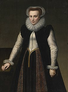Portrait of a Lady, Three Quarter Length, in a Ruff with Matching Lace Cap and Cuffs by Anthonie Blocklandt.jpg