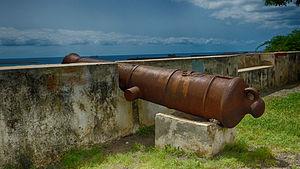 Portuguese cannon barrel at Praia, Cape Verde