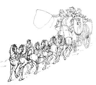 Postilion - This English etching from 1793 shows a postilion guiding the two front horses. The rear horses are controlled by a coachman (shown here holding a whip)