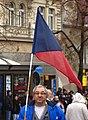 Praha, Václavské náměstí, Demonstrace 2011, vlajkonoš.jpg