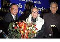"""Pranab Mukherjee being felicitated by the Meghalaya Chief Minister, Shri D. D. Lapang at the seminar on """"Look East Policy Geography as an opportunity"""" in Shillong, Meghalaya on June 16, 2007.jpg"""