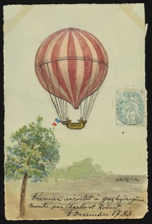 First flight of a gas air balloon on December 1, 1783