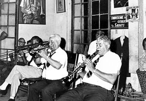 1966 in jazz - Preservation Hall Jazz Band, New Orleans, Louisiana. Visible are Jim Robinson, trombone; De De Pierce, trumpet; Willie Humphrey, clarinet.