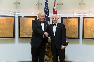 Australia–United States relations - Image: President Donald Trump meets with Australian Prime Minister Malcolm Turnbull for a bilateral meeting aboard the Intrepid Sea, Air & Space Museum, Thursday, May 4, 2017, in New York City