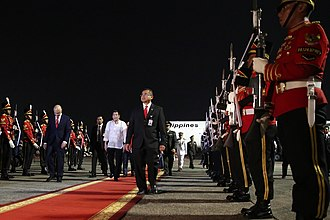 Halim Perdanakusuma International Airport - Image: President Rodrigo Duterte walks past Indonesian honor guards at Halim Perdanakusuma Airport in Jakarta on September 8