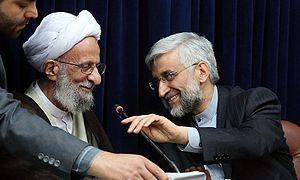 Mohammad-Taqi Mesbah-Yazdi - Mesbah-Yazdi meets with presidential candidate, Saeed Jalili, June 2013