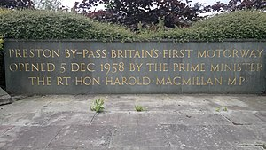 Preston By-pass - Plaque to commemorate the opening of the by-pass