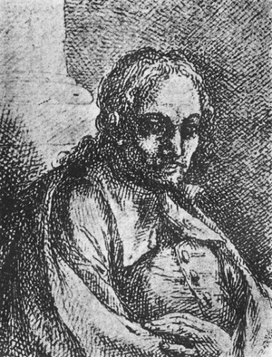 Battistello Caracciolo - Portrait drawing which Onofrio Giannone presumed to be of Caracciolo and published in 1773 (Museo Civico Filangieri, Naples).