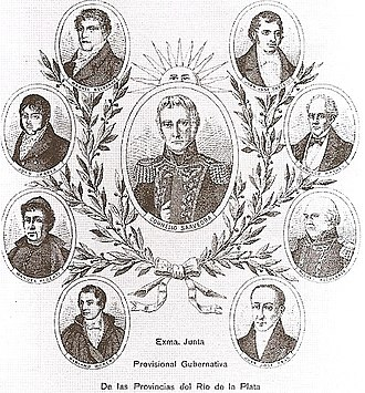 Primera Junta - Lithograph of the members of the Primera Junta.
