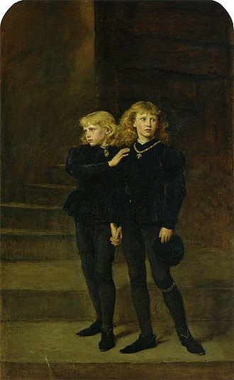 Princes in the Tower - The Two Princes Edward and Richard in the Tower, 1483 by Sir John Everett Millais, 1878, part of the Royal Holloway picture collection. Edward V at right wears the garter of the Order of the Garter beneath his left knee.