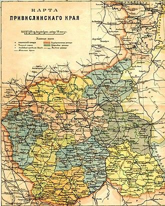 Vistula Land - Russian map of Привислинский край (Vistula Land) from 1896