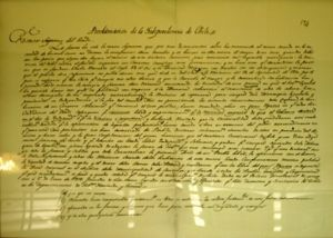 Chilean Declaration of Independence - Chilean Declaration of Independence document preserved at the National Congress of Chile, Valparaíso