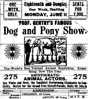 Dog and pony show - Advertisement for Prof. Gentry's Dog and Pony Show, 1900